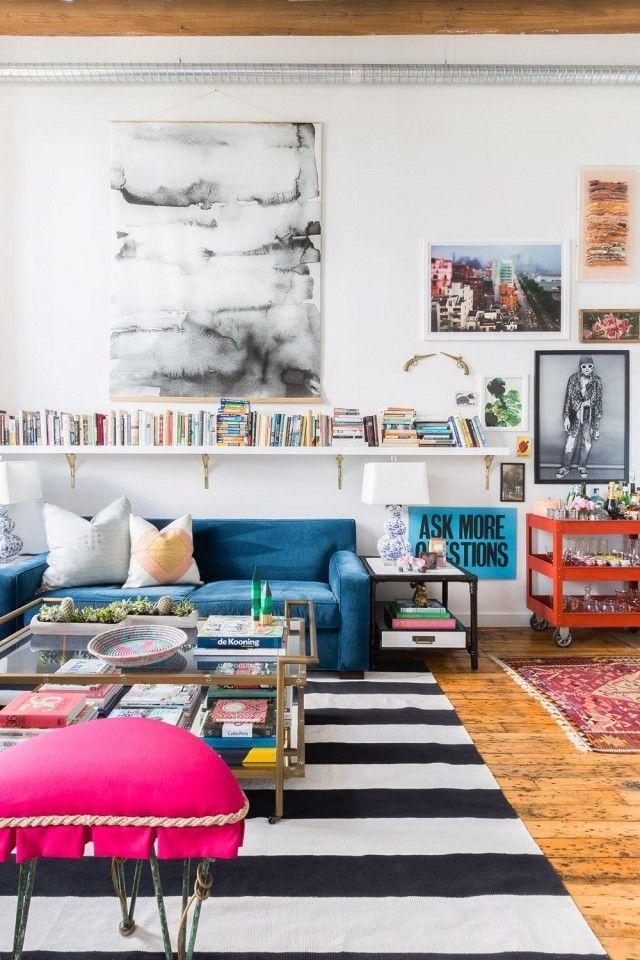 This Nashville Loft Is a Lesson in Eclecticism   Blue velvet sofa ...
