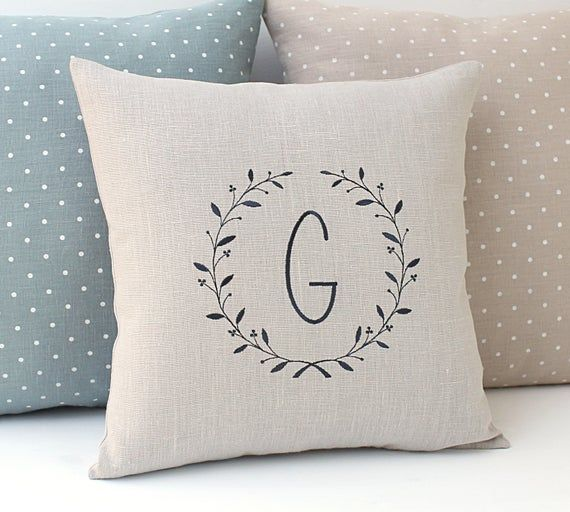 Couples pillow Personalized cushion light grey Linen pillow Easter pillow Embroidered monogrammed pi