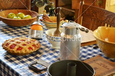 1800s Kitchen Table With Food And Vintage Tools Soft Focus