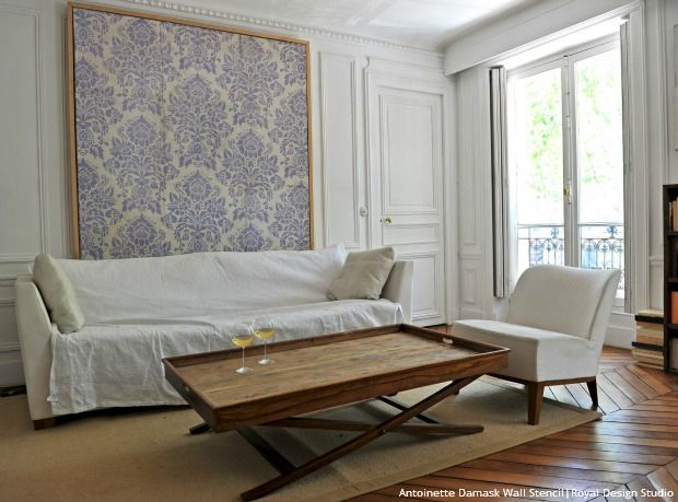DIY Vintage Style Home Decor Ideas with the Antoinette Damask Stencils - Royal Design Studio Wall Stencils, Ceiling Stencils, Floor Stencils, and Furniture Stencils
