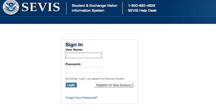 Sevis Login Student Exchange Student Login