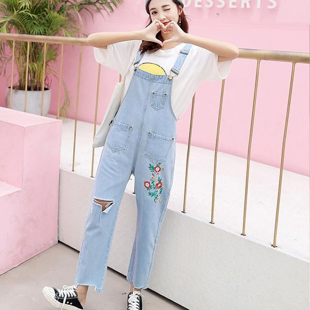 5e312d6f0d85 Ryseleco 2018 Spring Women Floral Embroidery Loose Overalls Streetwear  Ripped Hole Denim Rompers Wide Leg Pants Destroyed Jeans