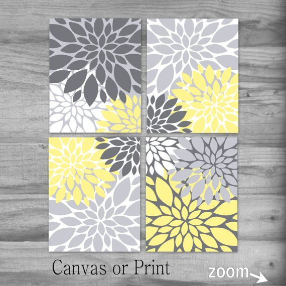 Yellow and Gray Wall Art Set Flowers Print or Canvas Art Print Home ...