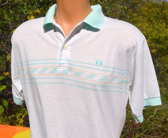 Vintage 70s Golf Shirt Polo Rod Laver Tennis Ringer White Preppy Large Xl 80s Golf Shirts Mens Tops Vintage Polo