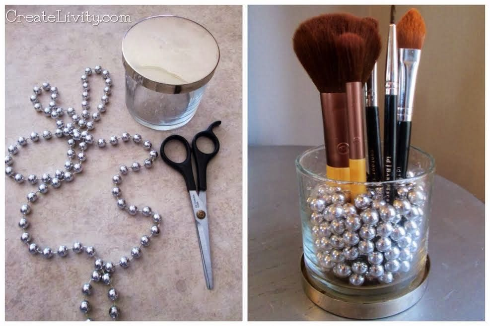 Mardi Gras beads and candle jaru003d Makeup brush holder Mardi Gras beads craft candle jar craft repurpose upcycle & Mardi Gras beads and candle jaru003d Makeup brush holder Mardi Gras ...