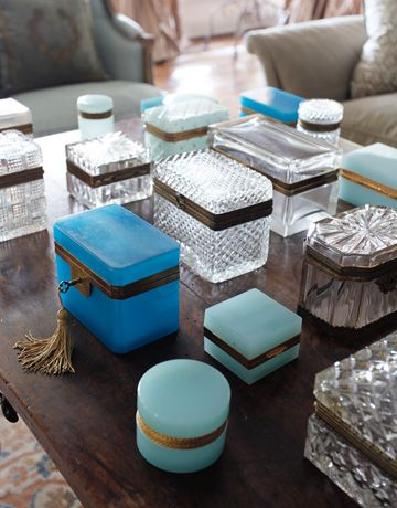 Clear glass and opaline boxes. Photo by Kerri McCaffety. Featured in House Beautiful.
