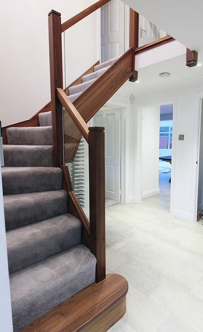 Best A Walnut And Glass Staircase Renovation With Images 400 x 300