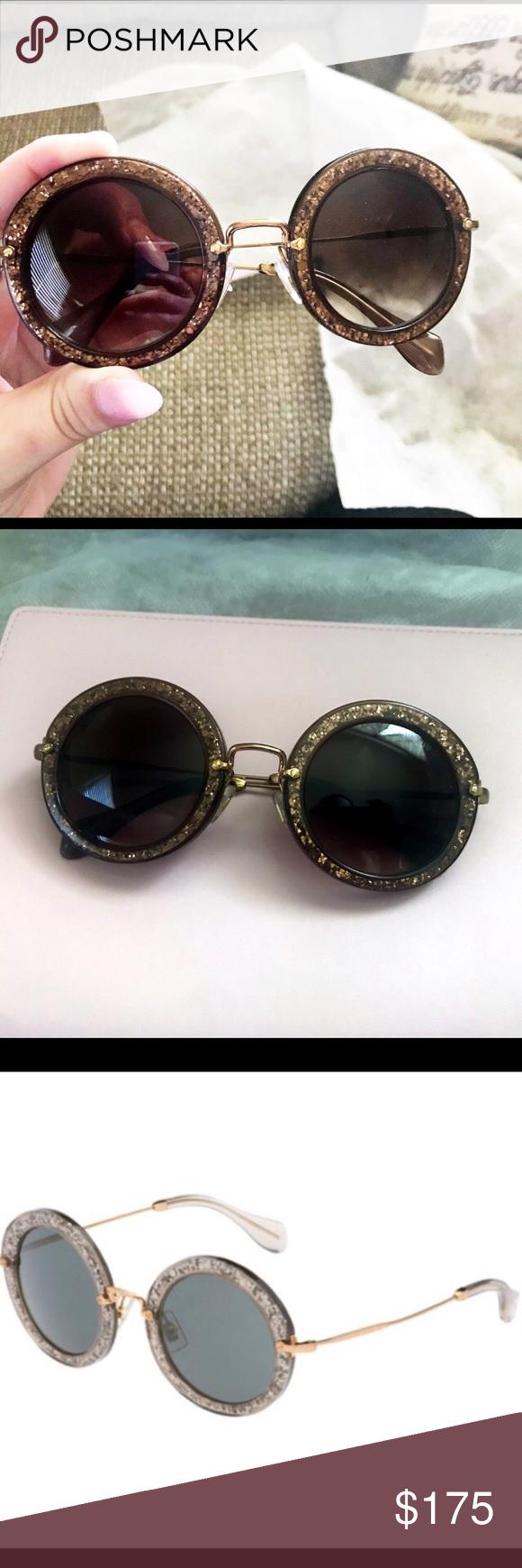 780b50bff5f MiU MiU DEADSTOCK Round Glitter Sunglasses Authentic Miu Miu SOLD OUT  EVERYWHERE- as