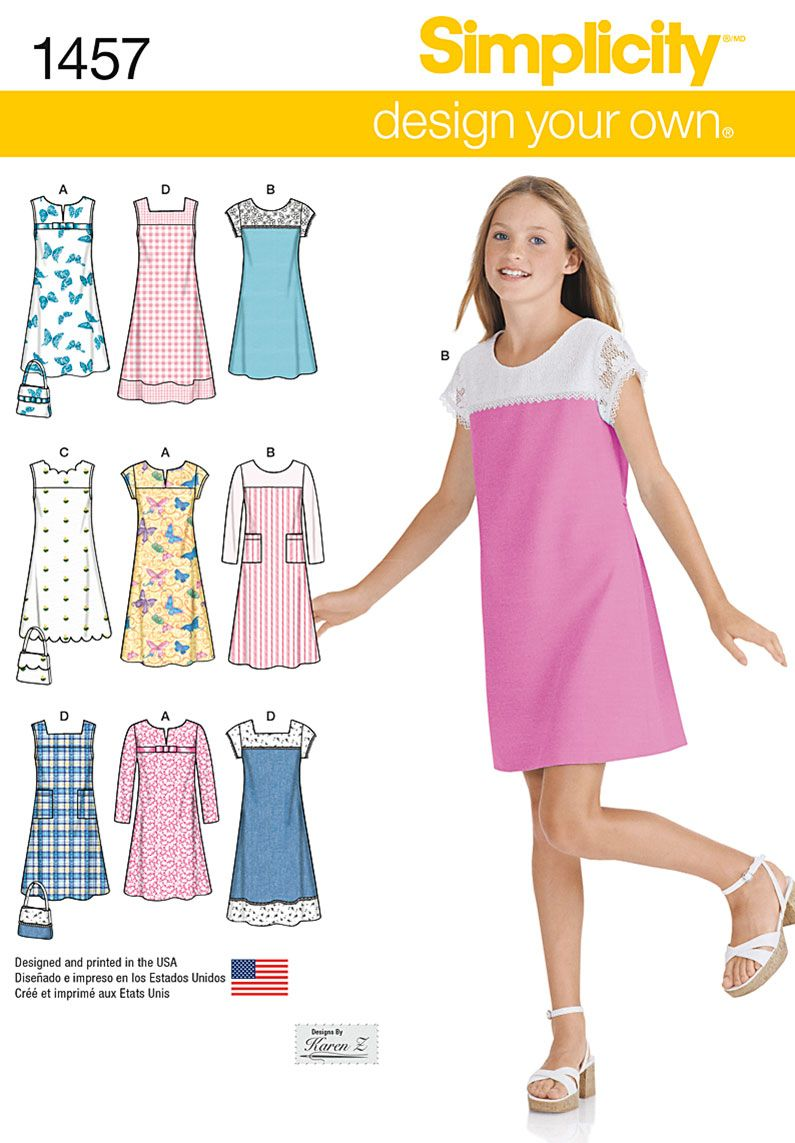 Simplicity 1457 Girls'/Girls' Plus Pullover Jumper or Dress in Two ...