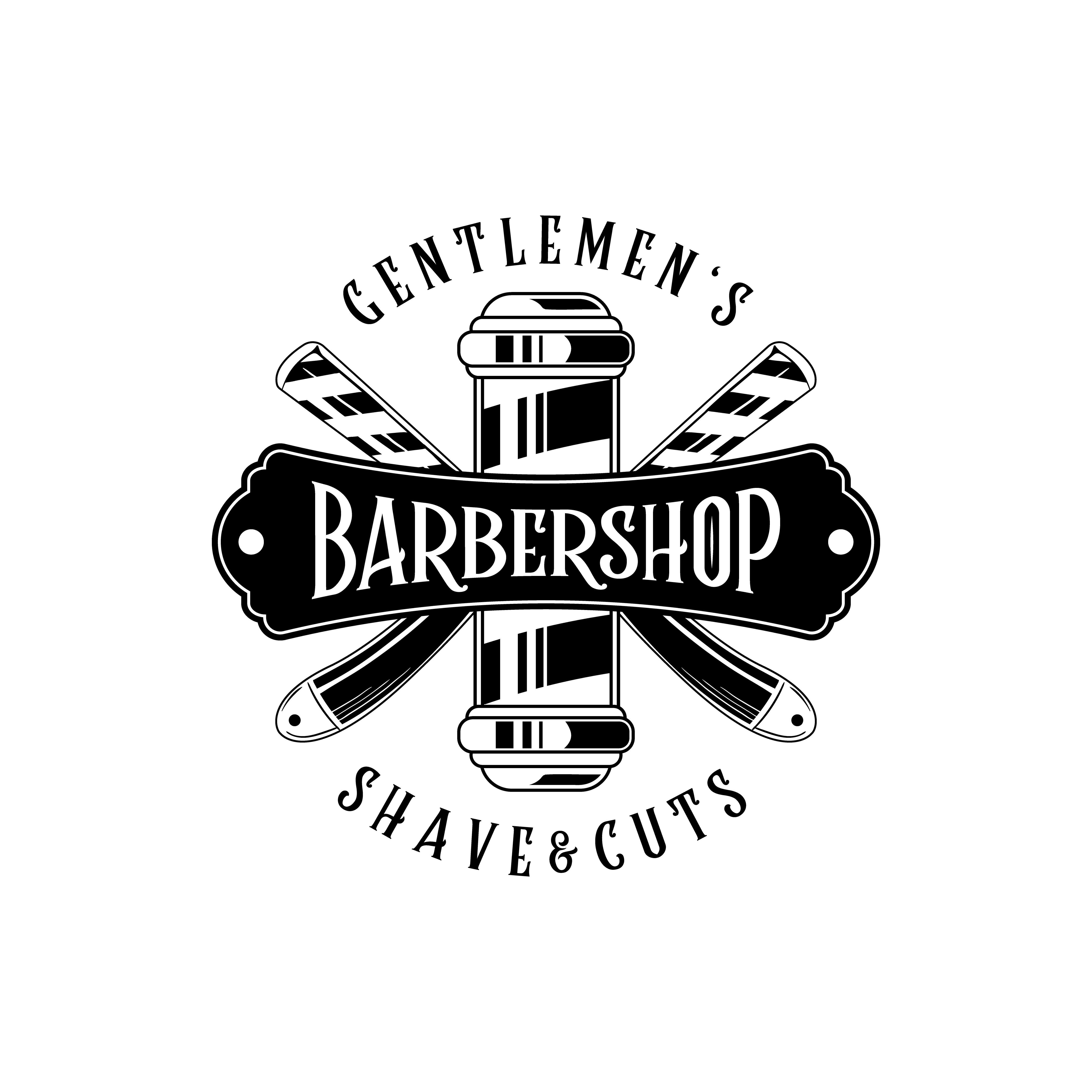 Barber Logo Barbershop Logo Vintage Desain Stiker Gambar