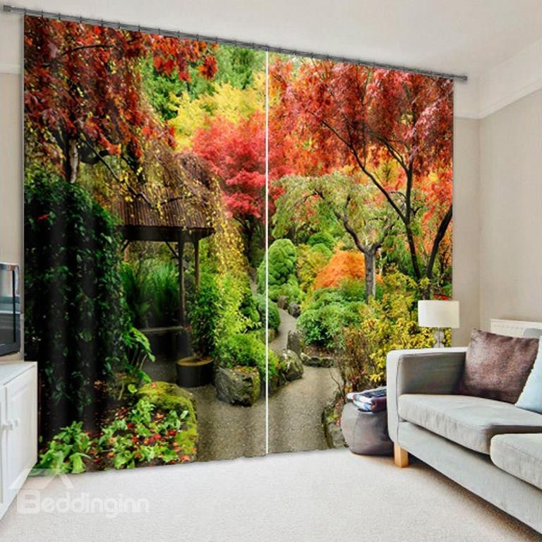 3D Colorful Trees Wonderful Autumn Scenery Printed Natural Style Custom Decoration Curtain #autumnscenery