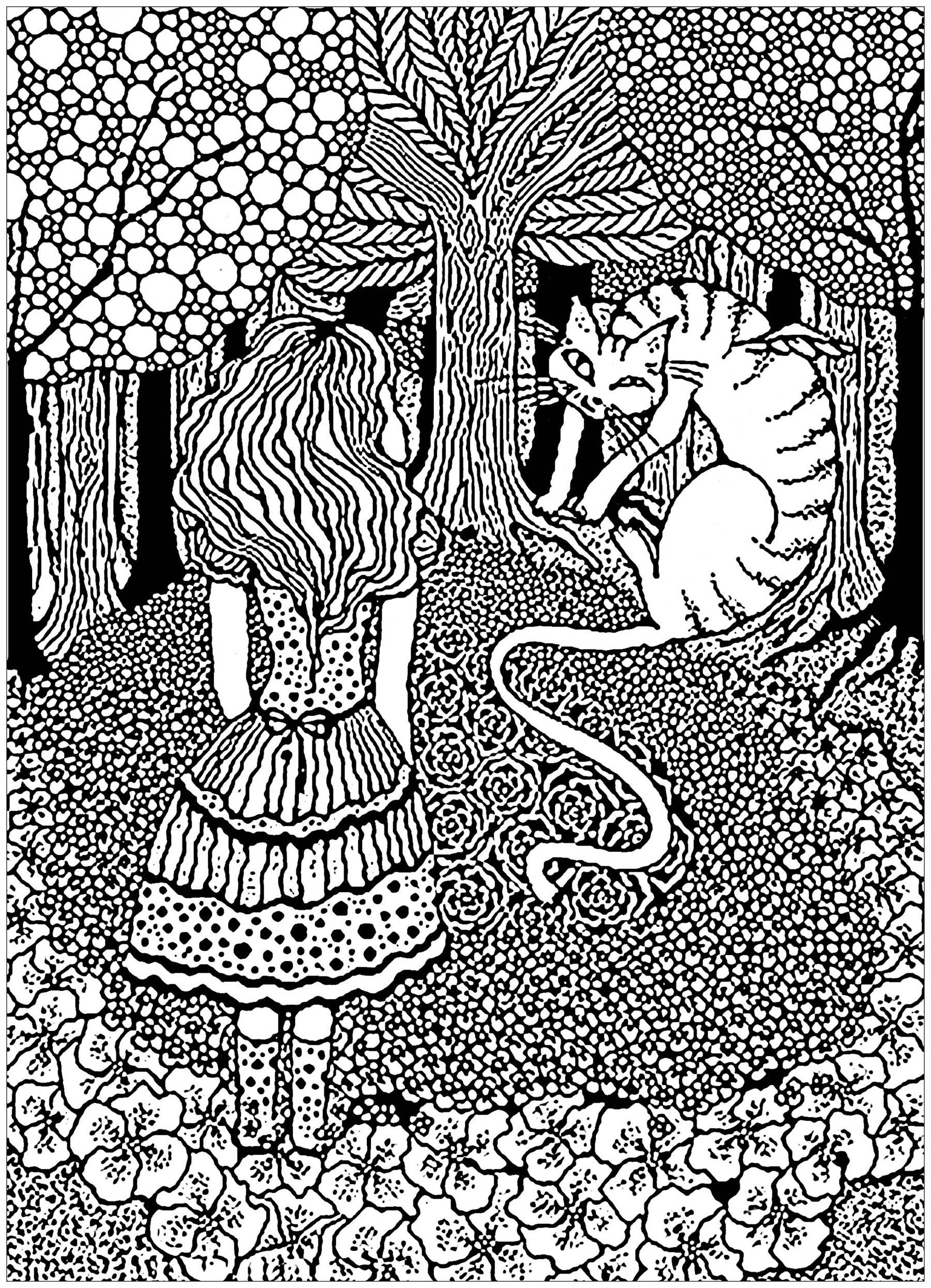 A Complex Coloring Page With Alice In Wonderland With The