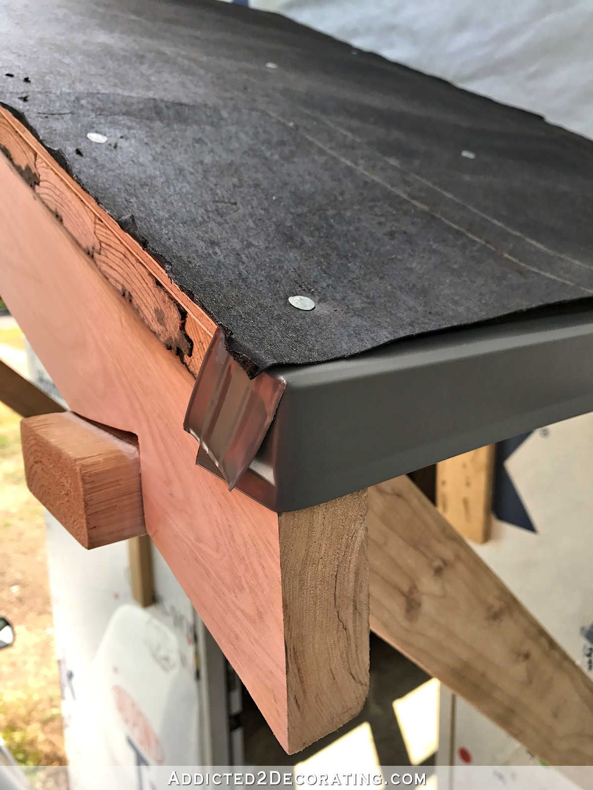 Diy Portico Part 2 Finishing The Ceiling The Roof Addicted 2 Decorating Portico Roof Edge Door Overhang