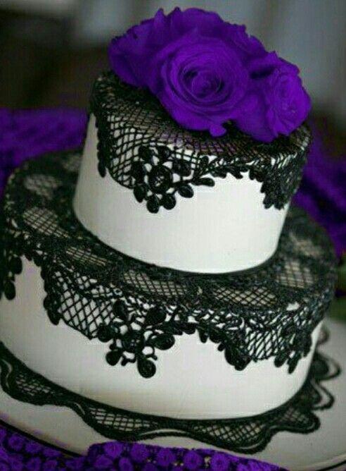Small Black Purple Cake Wedding Cakes In 2019 Black Wedding