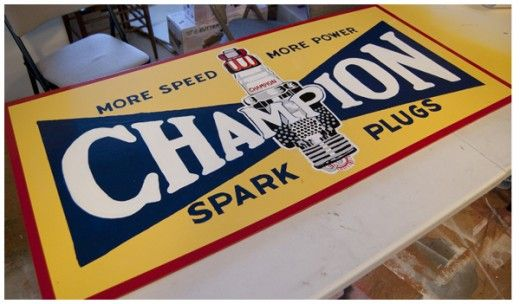 champion sign - hand painted