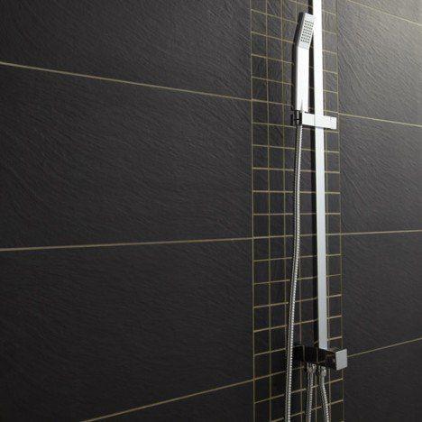 Carrelage sol et mur noir, Vesuvio l30 x L60 cm salle de bain