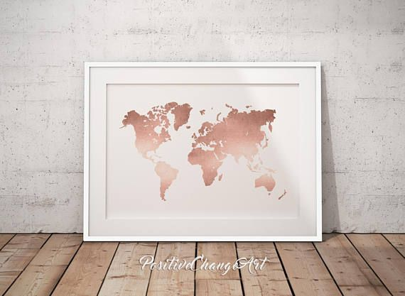 rose gold decor, office decor, world map print, rose gold map, rose