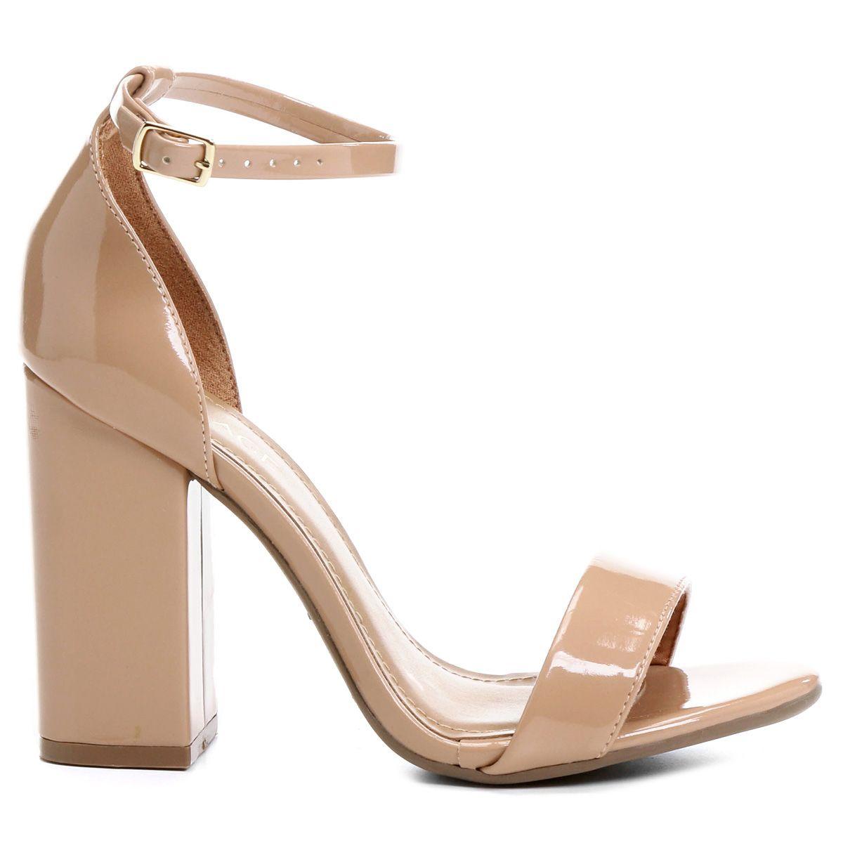 410fccc5a7 Compre Sandália Mixage Tira Salto Grosso Bege na Zattini a nova loja de  moda online da Netshoes. Encontre Sapatos