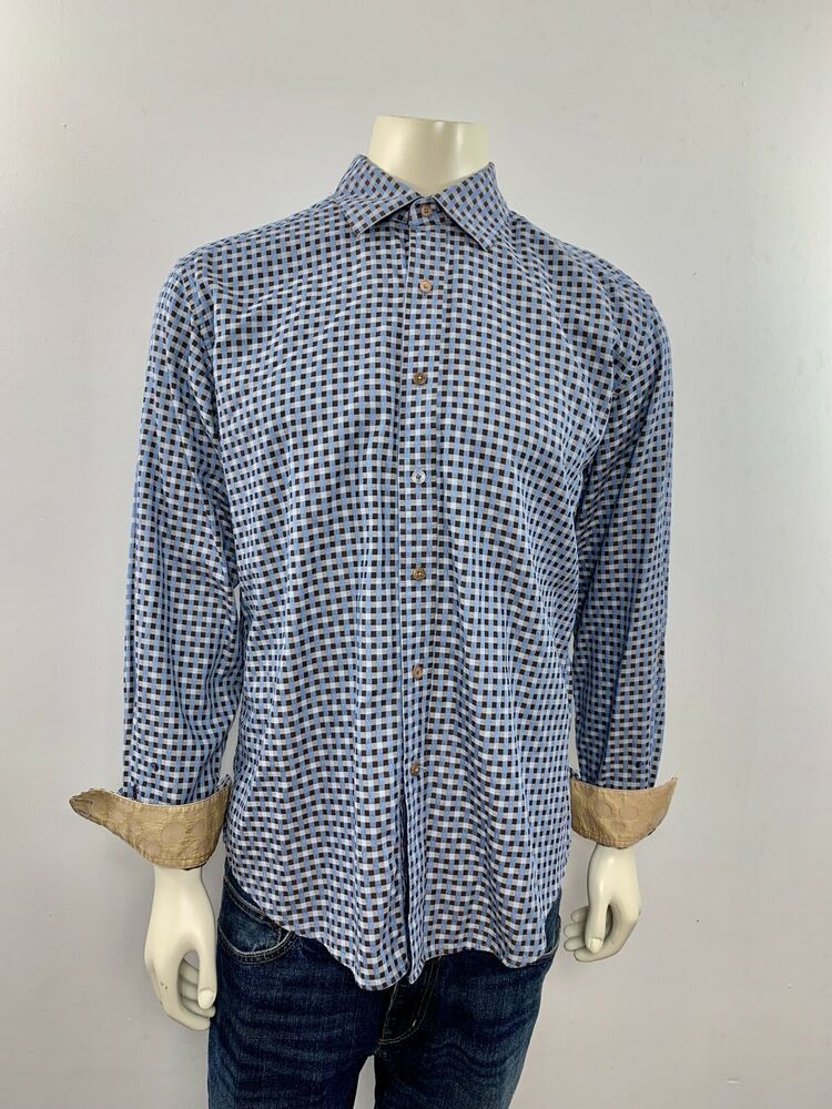 6b69f7e9613 Robert Graham Men s Size Large Long Sleeve Button Down Blue Checks Dress  Shirt  RobertGraham. Visit. April 2019