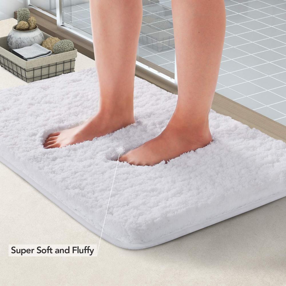 Lifewit Bath Mat White Microfiber Soft Shag Super Water Absorbent