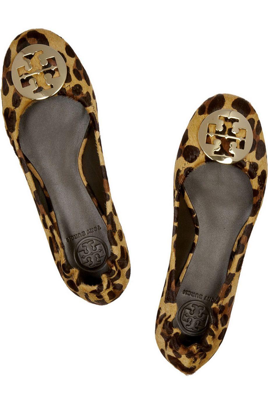 8632e46a59ff ... low price tory burch reva leopard print calf hair ballet flats net a  af12f 4dd7c