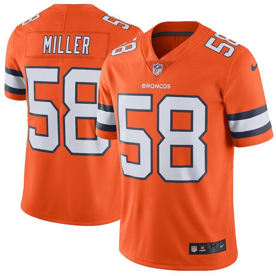 Men S Denver Broncos Von Miller Nike Orange Vapor Untouchable Color Rush Limited Player Jersey Nfl Uniforms Nfl Jerseys Nfl