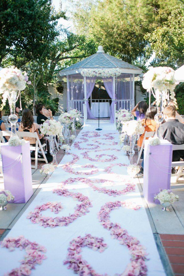 Purple, white, ivory romantic Wedding - Wedding ceremony aisle ...
