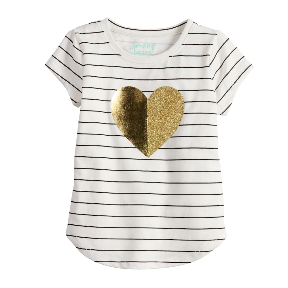 a342449e9673 Toddler Girl Jumping Beans® Striped Foiled Heart Tee