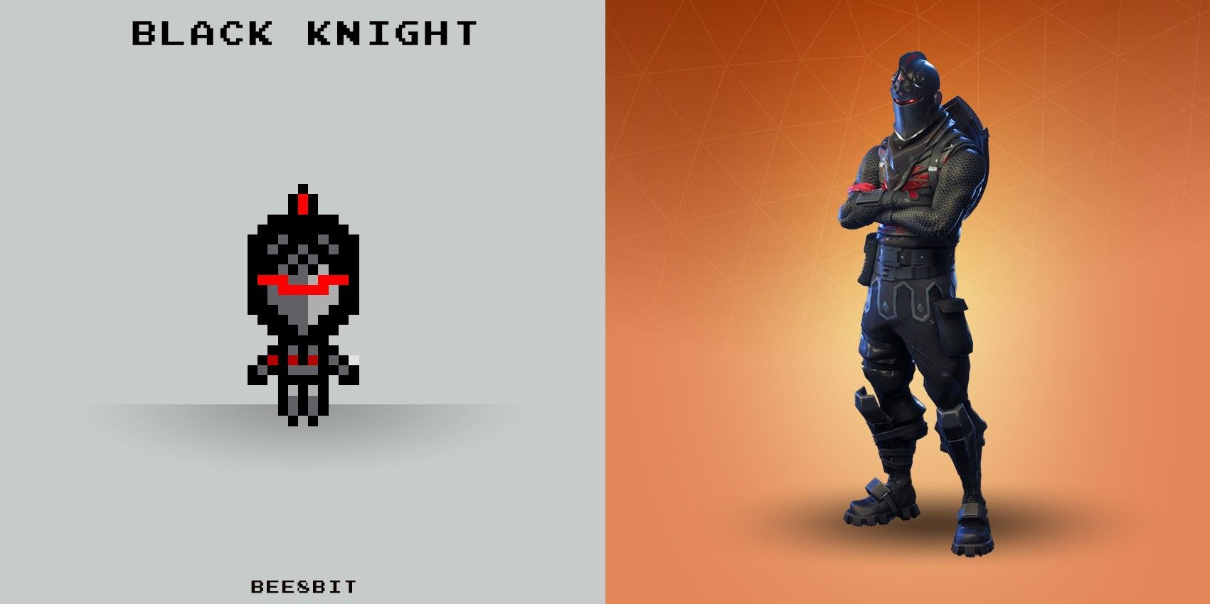 3d Black Fortnite Pixel Knights Gun