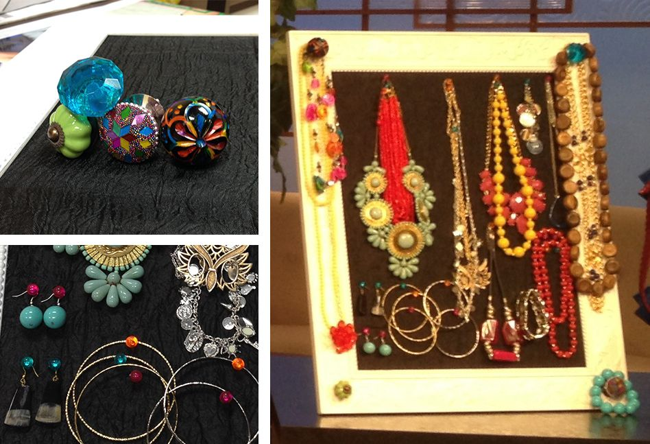 #SpringGreen Table: #Upcycle an old, gaudy photo frame into a jewelry display using assorted drawer pulls & push pins!