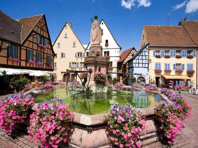 eguisheim village alsace looks like the fountain from. Black Bedroom Furniture Sets. Home Design Ideas