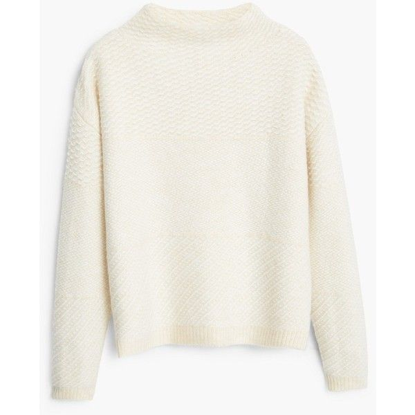 Funnel Neck Sweater ($59) ❤ liked on Polyvore featuring tops, sweaters, long sleeve sweaters, white sweater, cable sweater, white long sleeve top and drop-shoulder tops