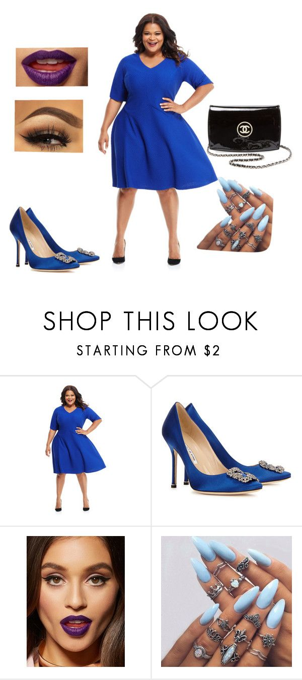 """feeling a little blues"" by designergirl18 ❤ liked on Polyvore featuring Maggy London, Manolo Blahnik, Chanel and plus size dresses"