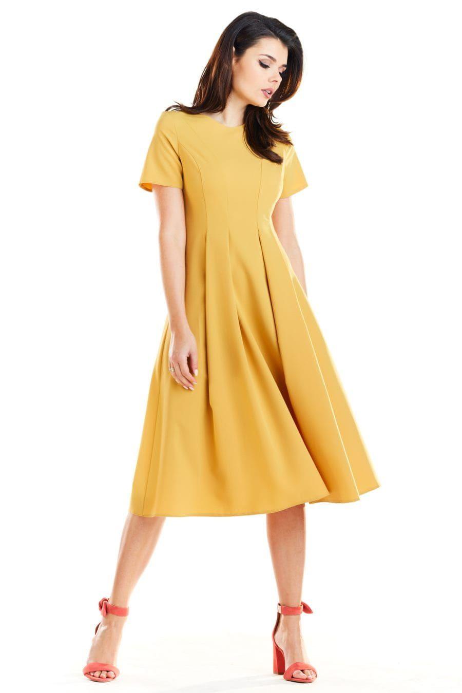 d875c15ff2 Elegancka Sukienka Midi Żółta AW253 w 2019
