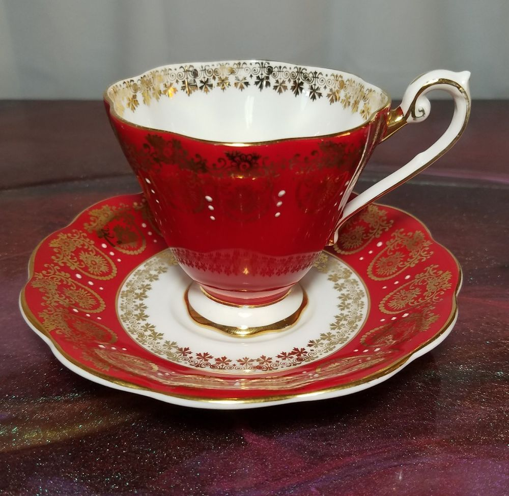 Royal Standard 2007 Bone China England Tea Cup Amp Saucer Red Amp Gold Antiques Decorative Arts Ceramics Amp Tea Cups Tea Cup Saucer Tea Cups Vintage