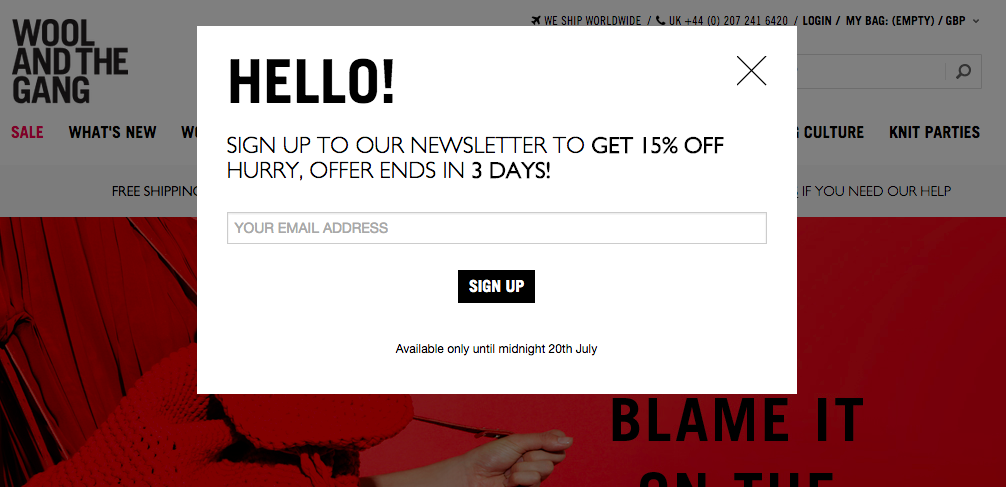 9 examples of inspired ecommerce popup design you\u0027ve got mail9 examples of inspired ecommerce popup design