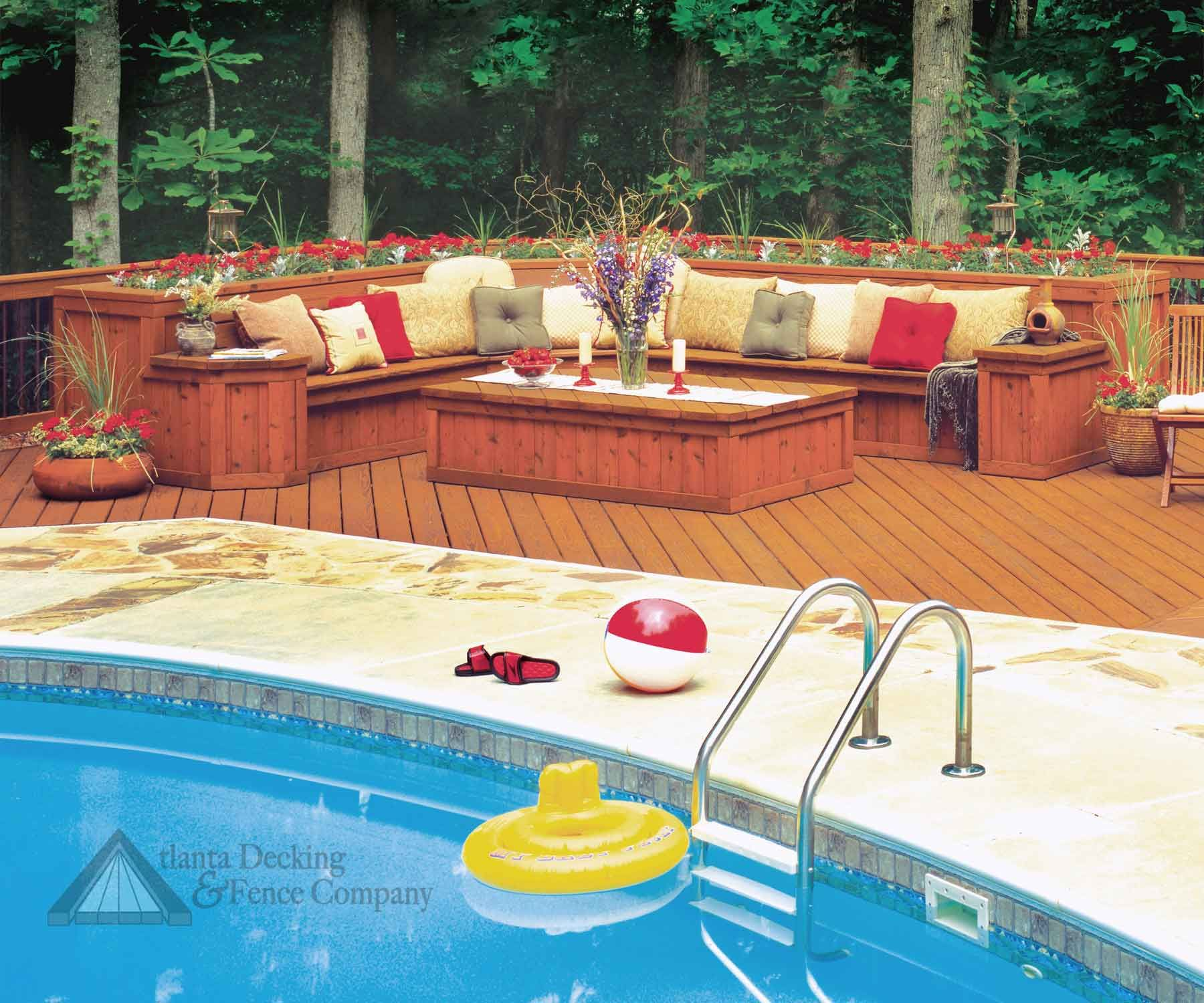 Pressure Treated Deck With Built In Poolside Seating Pool Decks Decks Backyard Outdoor Living Deck