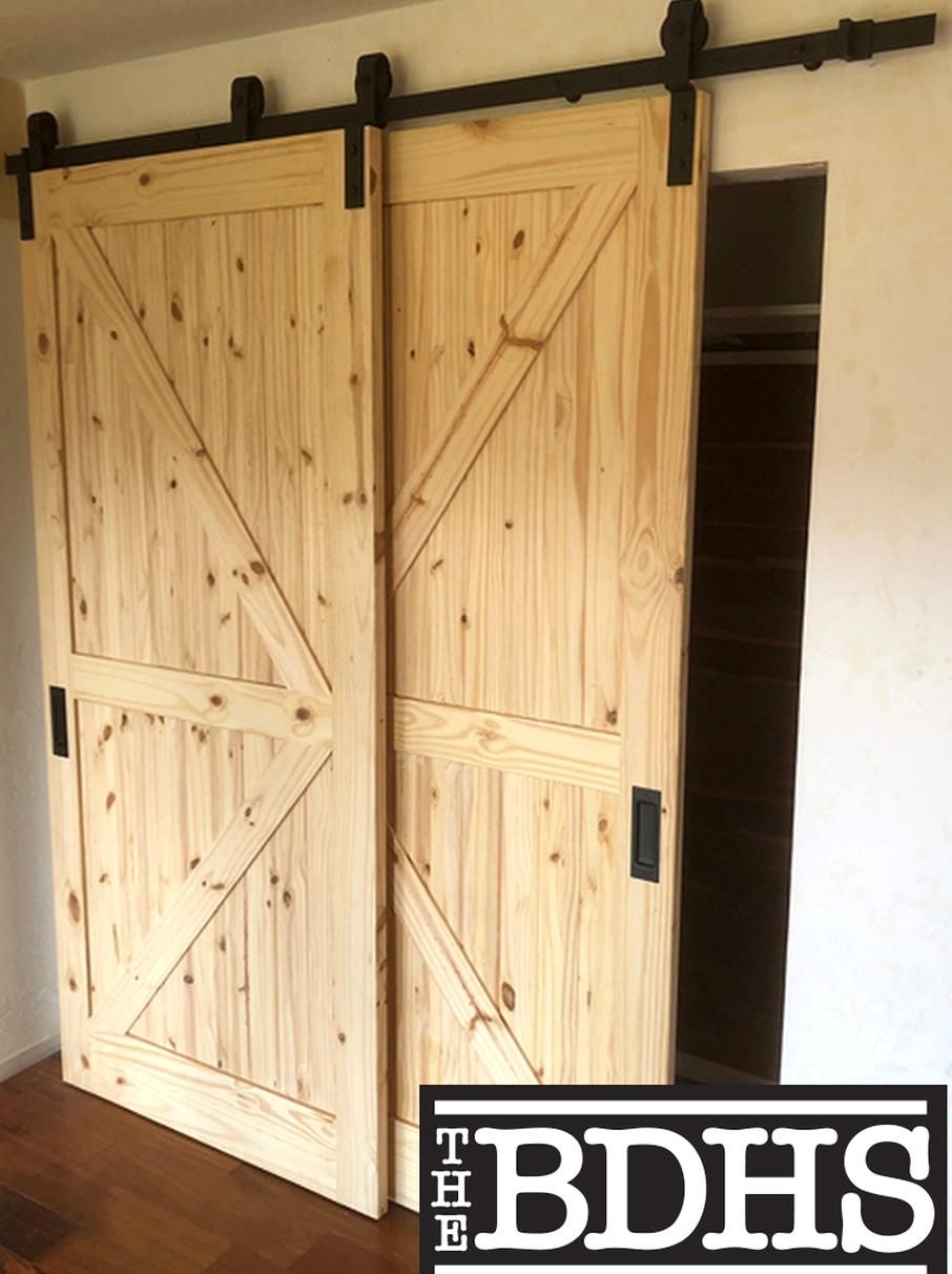 New Black Double Door Single Track Bypass Sliding Double Door Hardware Kit In 2020 Bypass Barn Door Hardware Bypass Barn Door Diy Sliding Barn Door