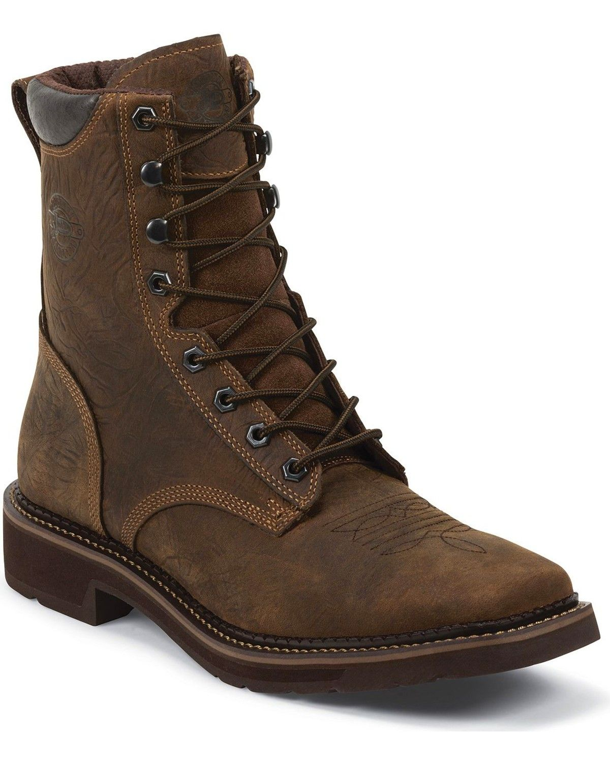 Justin Men S Driller 8 Waterproof Lace Up Work Boots Composite Toe Work Boots Mens Dress Boots Boots Women Fashion