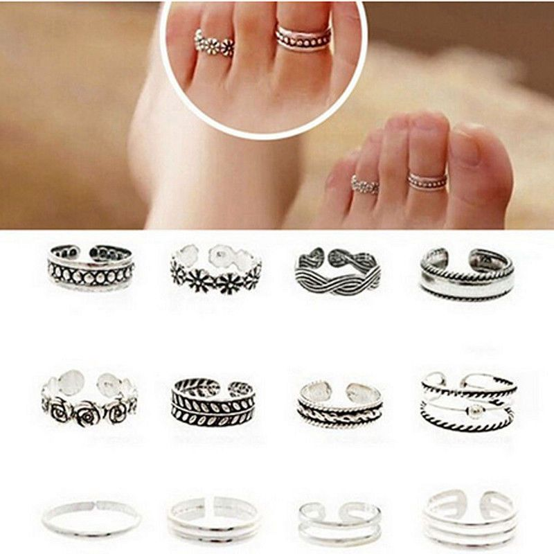12pcs Mix Celebrity Fashion Simple Retro Carved Flower Adjustable Toe Ring Foot