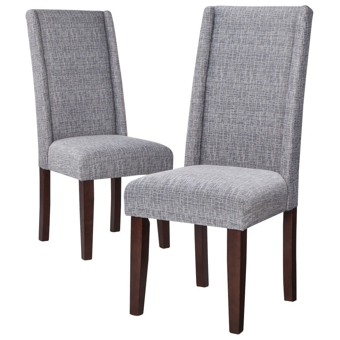 Charlie Modern Wingback Dining Chair Textured Grey Set Of 2