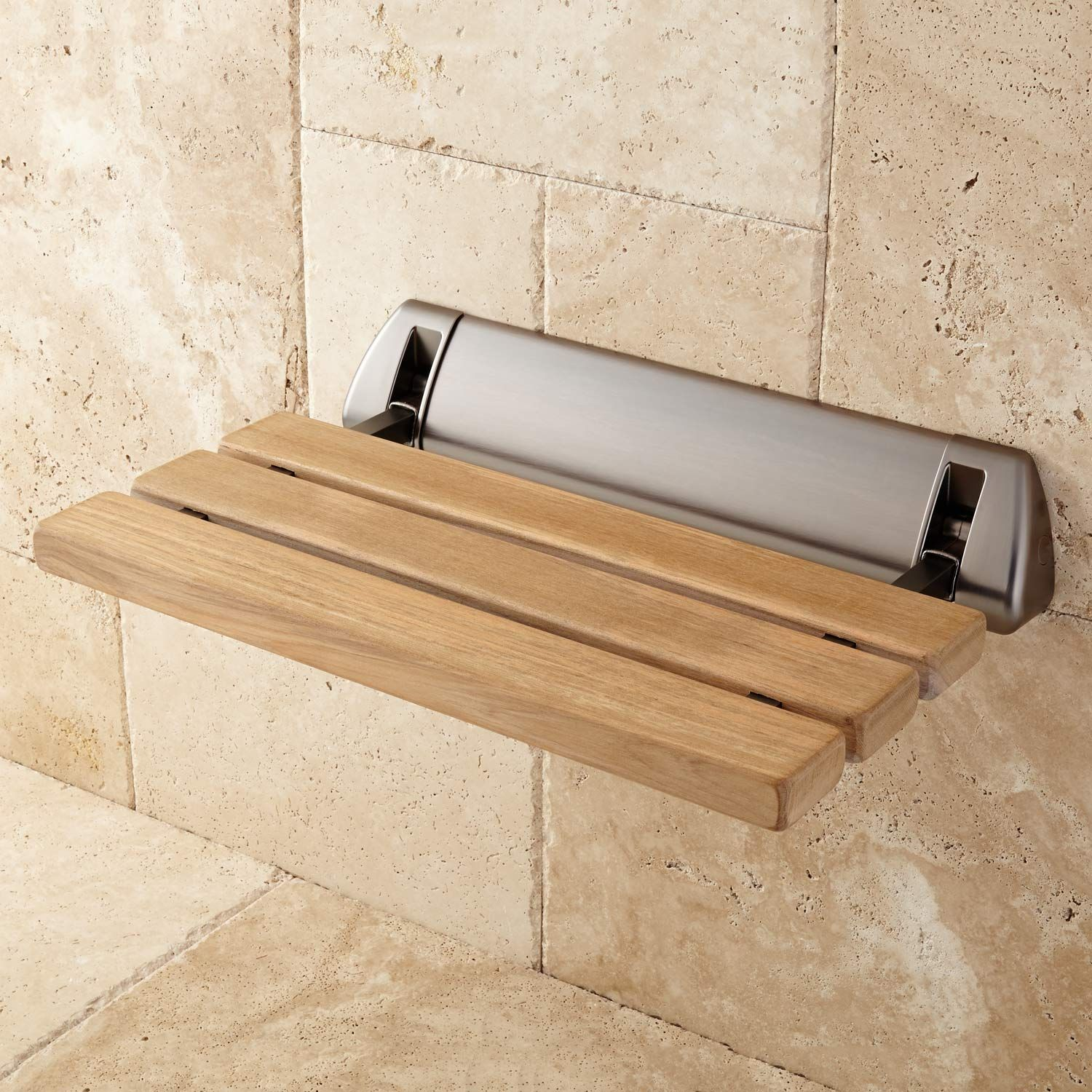 Teak Fold-Up Shower Seat | Shower seat, Teak and Oil rubbed bronze