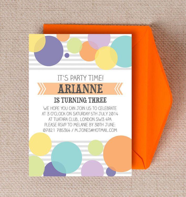 Dotty Delight Personalised Kids Birthday Party Invitations. DIY PDF ...