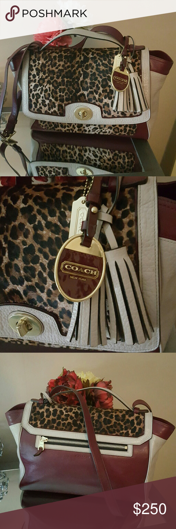 Authentic Coach Ocelot Leopard Haircalf Satchel This Coach bag is exquisite! Genuine colorblock leather with Ocelot haircalf. Tassels and charms adorn the bag for the perfect final touch. Great size and is perfect for everyday use! Turn lock closure, two handles and inside pockets.  Excellent condition, the bag still smells new. Only wear is slight wear to corners that isn't noticeable unless you are up close. Original price over $1,000. Definetly not your run-of-the-mill Coach bag! Style…