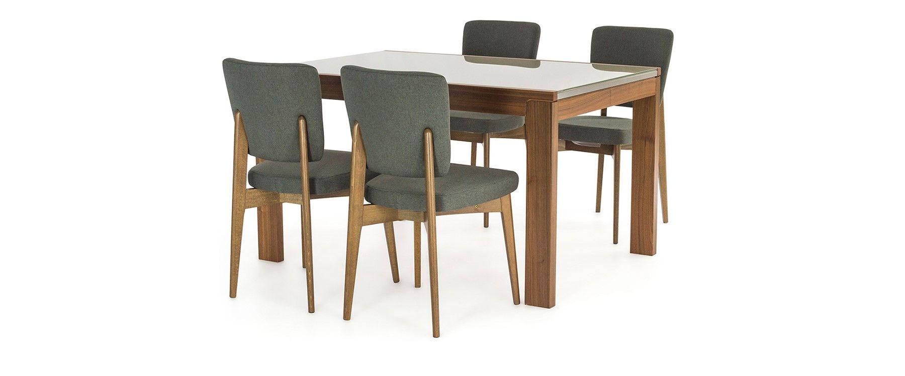 Vero Smart Dining Table -Walnut & Cappucino Glass & 4 Escudo Chairs ...