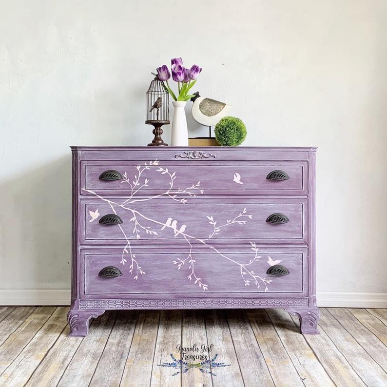 Bird And Lavender Chest Purple Furniture Purple Dresser Dresser Decor