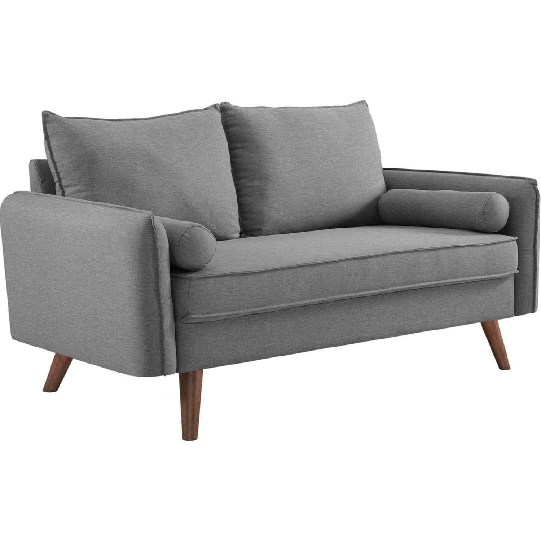 Excellent Modway Revive Loveseat Light Grey Fabric Wood Legs In 2019 Frankydiablos Diy Chair Ideas Frankydiabloscom