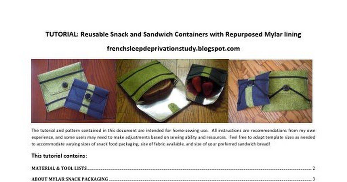 Mylar Snack Bag TUTORIAL v1 0 pdf | Things to sew | Reusable