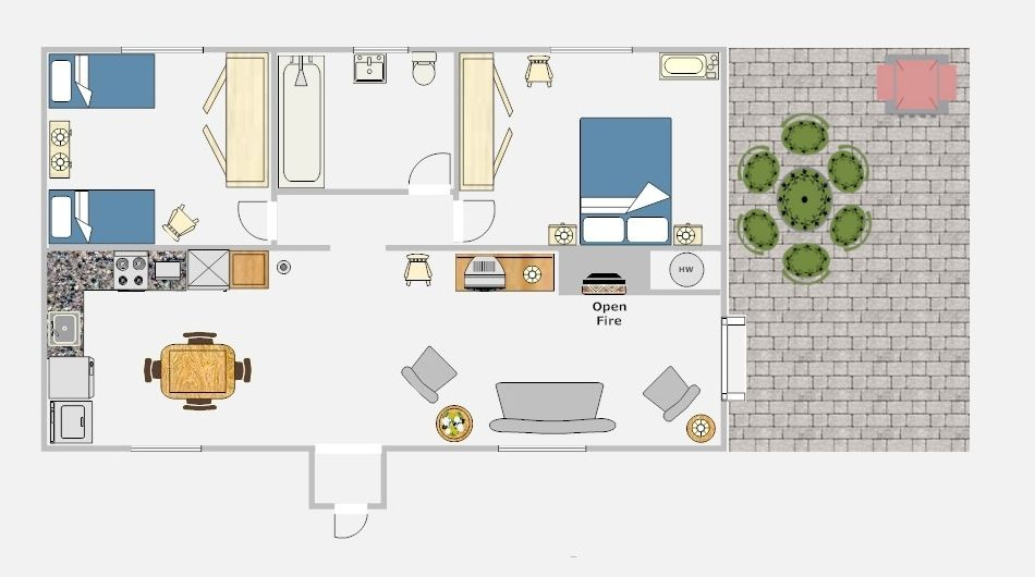 Holiday Home Builders Floor Plans: 2 Bedroom 2 Bath Cottage Plans