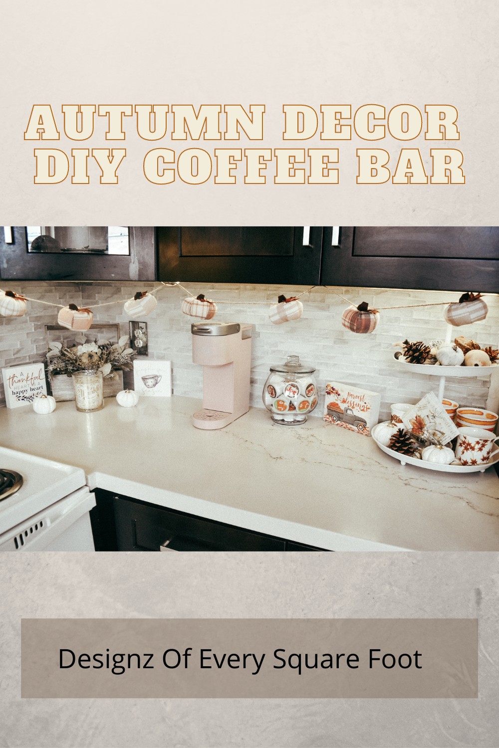 Decorate your coffee bar for this fall #fallidease #falldecorsations #falldecoring #autumn #fall #homedecorinspiration #falldiydecor #decorfallhome #decorationhomeforfall #falldecorprojects #thanksgivingdecorations #love #thanks #coffee #pumpkinspice
